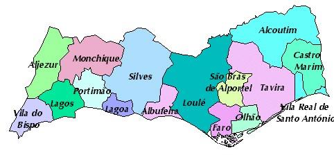 Overzicht van de verschillende regio's in de Algarve